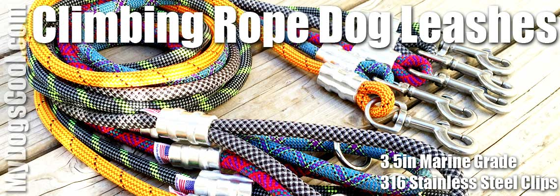 Climbing Rope Dog Leashes with 316 Stainless Steel Clips