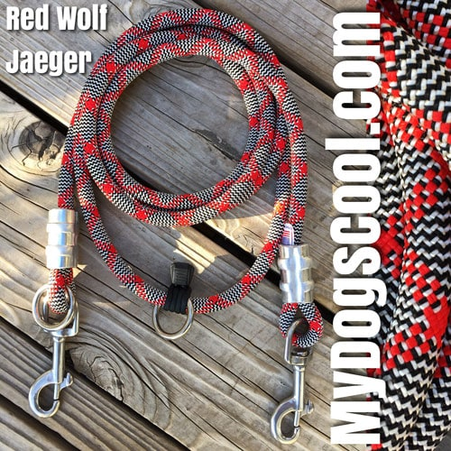 Red Wolf Jaeger Over the Shoulder Rope Dog Leash for Hiking with your Big Dog. Made in USA. MyDogsCool.com