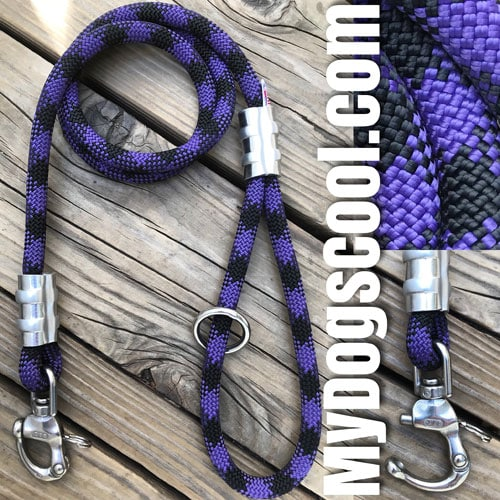 Purple Storm Rope Dog Leash with Quick Release. MyDogsCool.com