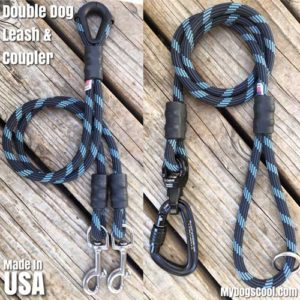 Double Dog Leash Coupler made with Climbing Rope, Carabiner and Swivel. Made in USA. MyDogsCool.com