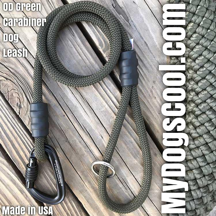 OD Green Carabiner Rope Dog Leash made in USA for medium to extra large dogs. MyDogsCool.com