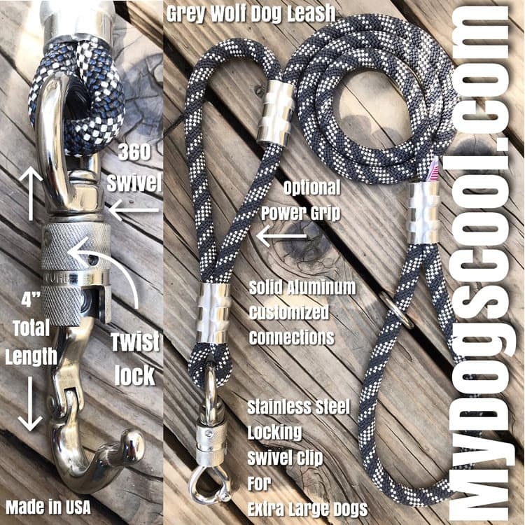 Rope Dog Leashes with a Heavy Duty 4 inch Swivel Twist Lock Perfect for Extra Large Dogs.