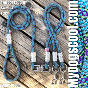Two Dog Coupler with Swivel & Rope Leash. MyDogsCool.com