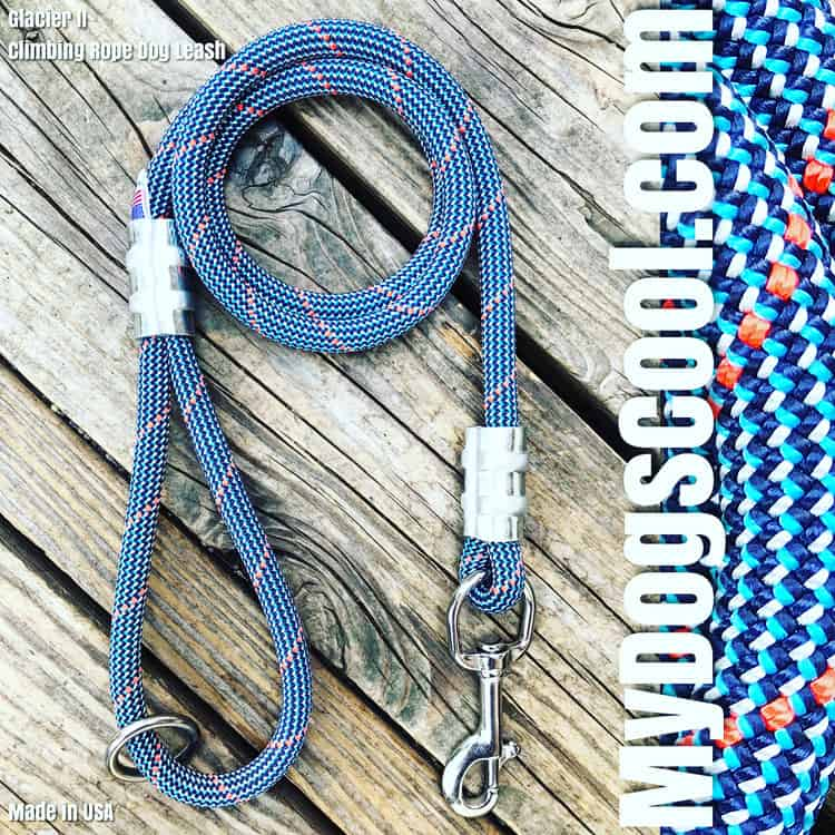 Glacier ll Climbing Rope Dog Leash Handmade in USA for the Big Dogs. MyDogsCool.com